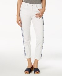 Style And Co Petite Embroidered Boyfriend Crop Jeans Created For Macy's Bright White