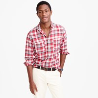 J.Crew Springweight Flannel In Red Plaid