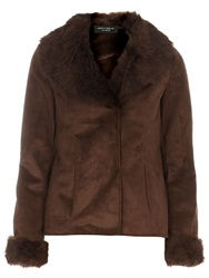 Dorothy Perkins Faux Shearling Jacket Brown