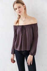 Ecote Cooper Off The Shoulder Top Purple