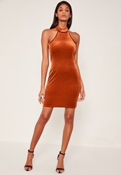 Missguided Orange High Neck Velvet Sleeveless Bodycon Dress