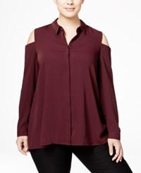 Alfani Plus Size Cold Shoulder Shirt Only At Macy's Maroon