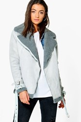 Boohoo Tall Sadira Bonded Aviator Jacket Grey