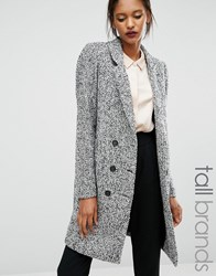 Y.A.S Tall Dalay Textured Double Breasted Coat Grey