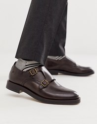 Base London Milligan Double Buckle Monk Shoes In Brown