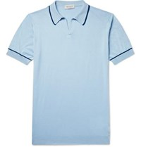 John Smedley Saxon Slim Fit Contrast Tipped Sea Island Cotton Polo Shirt Blue