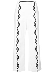 Sara Battaglia Contrast Trim Wave Trousers White