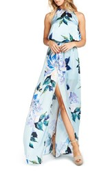 Show Me Your Mumu Women's Heather Chiffon Halter Gown Mint To Be Floral