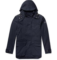 The Workers Club Cotton Canvas Hooded Jacket Blue