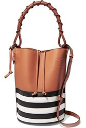 Loewe Gate Striped Textured Leather Bucket Bag Tan