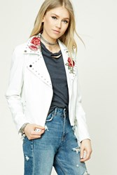 Forever 21 Floral Faux Leather Moto Jacket