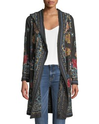 Johnny Was Sakara Hooded Duster Jacket With Embroidery Black