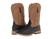 Roper Ostrich Print Square Toe Cowboy Boot Black Faux Leather Western Stitch Cowboy Boots Tan