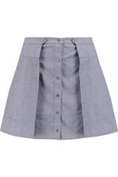 Alexander Wang Pleated Cotton Chambray Mini Skirt Gray