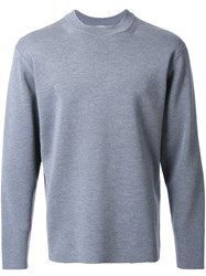 H Beauty And Youth. Ribbed Crew Neck Jumper Grey