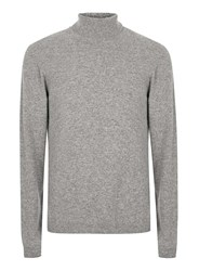 Topman Mid Grey Premium Grey Roll Neck Sweater Containing Cashmere