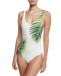 Onia Kelly Tropical Leaf Print One Piece Swimsuit White