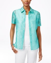 Alfred Dunner Petite Layered Look Burnout Blouse Mint