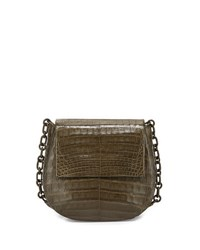 Nancy Gonzalez Round Flap Top Crocodile Crossbody Bag Army Green