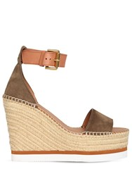 See By Chloe 120Mm Suede Espadrille Sandals Khaki