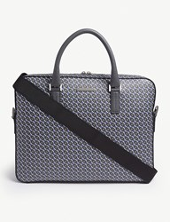 Boss Signature Printed Leather Briefcase Grey Blue