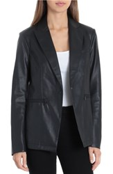 Bagatelle Faux Leather Blazer Black