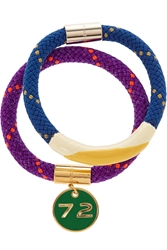 Marc By Marc Jacobs Set Of Two Braided Cord And Enamel Bracelets Purple