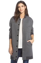 Sam Edelman Quilted Letterman Jacket Charcoal