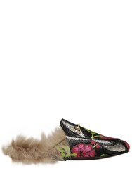 Gucci 10Mm Princetown Jacquard And Fur Mules