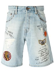 Just Cavalli Patch Embellished Denim Shorts Blue