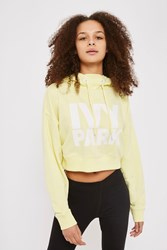 Topshop Cropped Logo Hoodie By Ivy Park Pale Yellow
