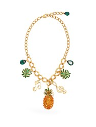 Dolce And Gabbana Tropicana Crystal Embellished Necklace Multi