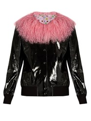 Charlotte Simone Va Va Varsity Patent Leather Jacket Black