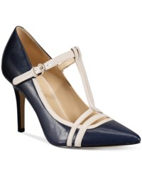 Nine West Jantine T Strap Pointed Pumps Women's Shoes Navy Off White Leather