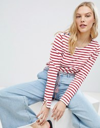 Maison Scotch Breton Stripe Long Sleeved T Shirt 17 Combo A Red