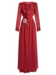 Luisa Beccaria Bead Embellished Crepe De Chine Gown Red