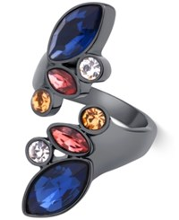 Guess Hematite Tone Geometric Crystal Bypass Ring Multi