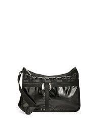Le Sport Sac Deluxe Everyday Bag Black Crinkle Patent