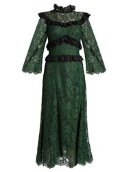 Dolce And Gabbana Ruffle Trimmed Cordonetto Lace Dress Green
