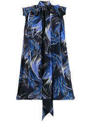 Givenchy Knot Detail Printed Dress Blue