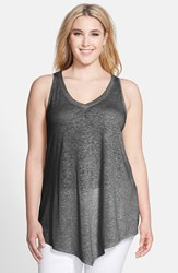 Plus Size Women's Sejour 'Triangle' Sheer Knit V Neck Tank Black Triblend Pattern