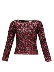 Rebecca Taylor Long Sleeved Sequinned Top Burgundy