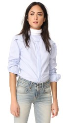 R 13 R13 Backwards Button Down Shirt Blue Stripe