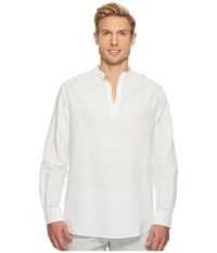 Perry Ellis Long Sleeve Solid Linen Cotton Popover Shirt Bright White Men's Clothing