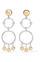 Eddie Borgo Barbell Chandelier Gold And Rhodium Plated Earrings One Size