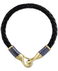 Effy Men's Black Leather Woven Bracelet In Gray Rhodium Plated And 14K Gold Plated Sterling Silver