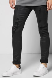 Boohoo Coated Destroyed Crinkled Jean Black
