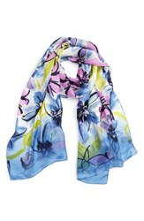 Vince Camuto Women's Brushed Blooms Silk Scarf Night Shadow Blue