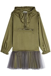Moschino Anorak Dress With Tulle Green