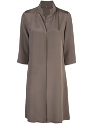 Peter Cohen Standing Collar Tunic Top Brown